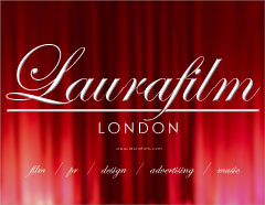 Laurafilm LONDON - red curtain logo - CLICK TO ENLARGE